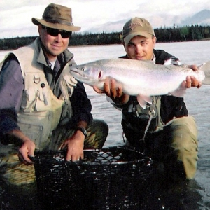 A BIG MIDDLE KENAI RIVER RAINBOW TROUT