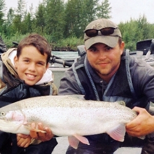 A BIG RAINBOW TROUT CAUGHT ON THE UPPER KENAI RIVER